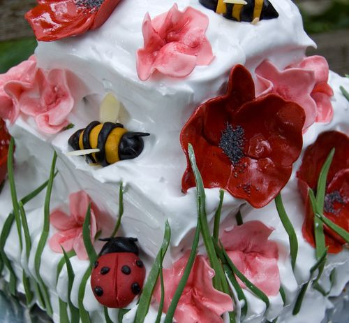gumpaste sugar paste poppies bees ladybugs